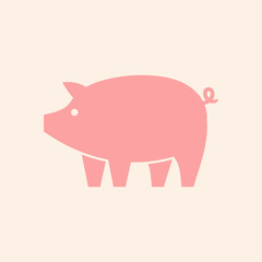 Pig logo. Icon design. Template elements