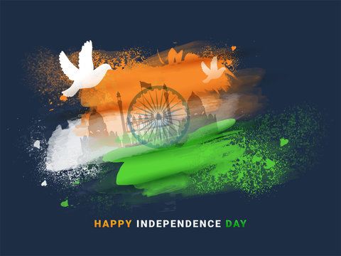 Happy Independence Day poster or banner design with illustration of dove, Red Fort and Ashoka Chakra on tricolor grunge brush stroke background.