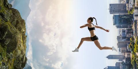 Foto op Plexiglas Diepbruine Abstract concept of running young sportswoman