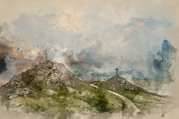 Wall Murals Dark grey Digital watercolor painting of Cross in landscape of Ynys Llanddwyn Island with Twr Mawr lighthouse in background with blue sky
