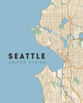 Seattle road and neighbourhood map. Washington