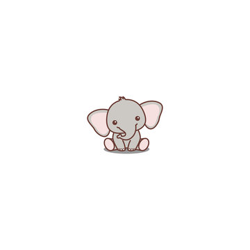 Cute baby elephant sitting cartoon icon, vector illustration