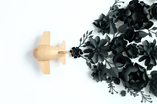 small wooden toy airplane lucky by flower