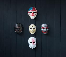 maniac mask isolated on black background