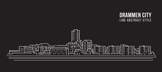 Cityscape Building Line art Vector Illustration design - Drammen city
