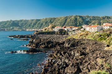 The rocky coastline in Santa Tecla, a small village near Acireale
