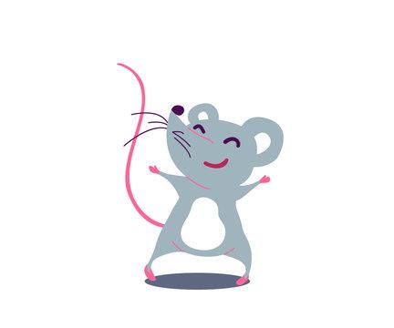 Cartoon cute rat in simple flat style. Vector illustration