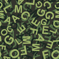 Camouflage made from Letters Seamless Pattern