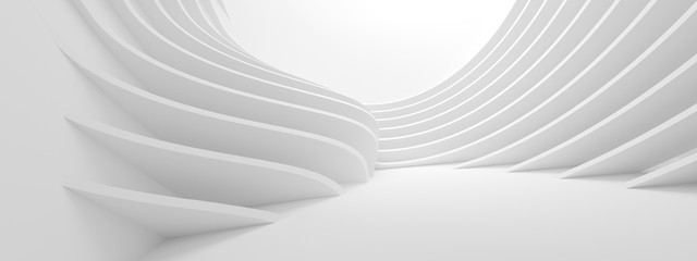 Fotobehang - Abstract Architecture Background. 3d Rendering of White Circularl Building