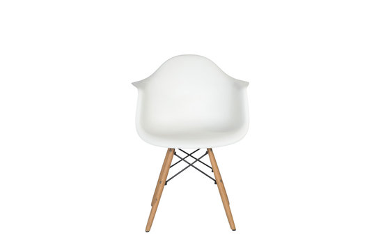 Modern white plastic chair with wooden legs isolated on a white background. Front view