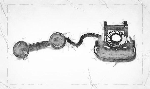 Old and vintage telephone illustration Sketch