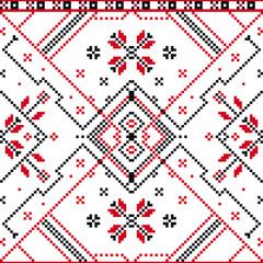 Traditional Romanian Floral Motif Seamless Pattern