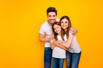 Photo of daddy mommy and little foxy lady having best time wear casual outfit isolated yellow background Fototapete