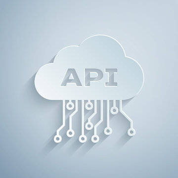 Paper cut Cloud api interface icon isolated on grey background. Application programming interface API technology. Software integration. Paper art style. Vector Illustration