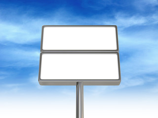 Blank signboard mock up template in front of blue sky, 3d illustration