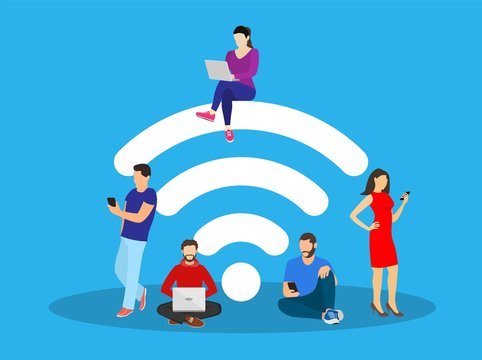 People in free internet zone using mobile gadgets, tablet pc and smartphone. big wifi sign. Free wifi hotspot, wifi bar, public assess zone, portable device concept. Vector illustration in flat style