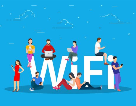Wi fi giant letters and people. Group of happy diverse men enjoy free area for computers, smartphones, devices. Free wifi hotspot, public assess zone. Vector illustration in flat style.