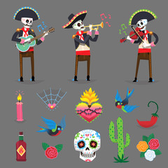 Set of characters and elements for Mexican Day of the Dead holiday. Vector images.