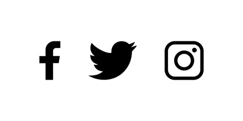 Set of facebook twitter and instagram icons. Social media icons black colored