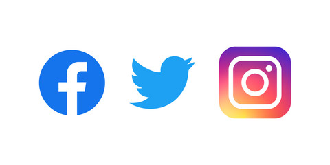 Set of facebook twitter and instagram icons. Social media icons.