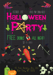 Vector poster for Halloween party with dark background and doodles. Icons and elements can be separated.