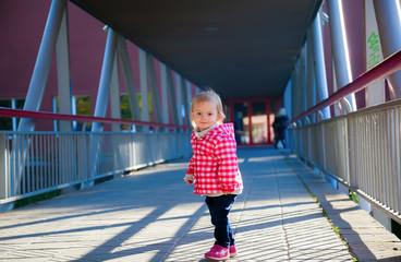 little baby girl outside