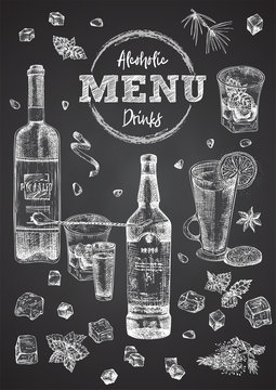 Vintage hand drawn sketch design bar, restaurant, cafe cover menu on black chalk board background. Graphic vector art. Whiskey with ice and mint