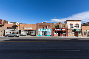 Morning view of small town brick storefronts along historic Lincoln Highway on October 16, 2016 in Ely, Nevada, USA.
