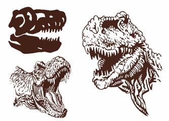 Vintage  set of dinosaur portraits, graphical vector illustration,paleontology