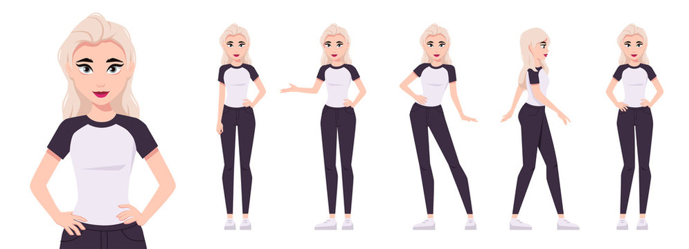 Girl character set isolated on a white background. Woman dressed in a T-shirt and jeans. Various poses. Mouth and body animation. Cute simple cartoon design. Flat style vector illustration.