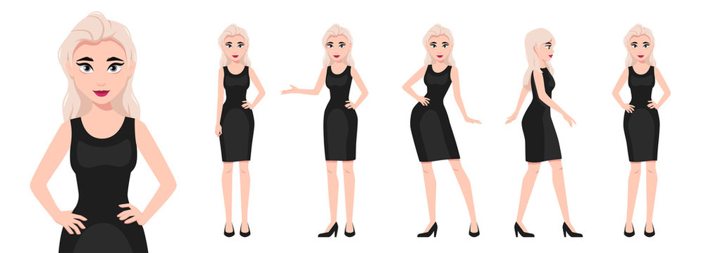 Girl character set isolated on a white background. Woman dressed in a black dress. Various poses. Mouth and body animation. Cute simple cartoon design. Flat style vector illustration.