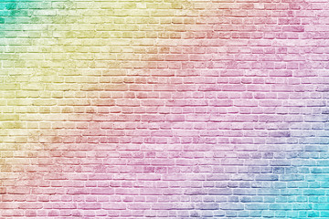 Türaufkleber Graffiti Colorful rainbow brick wall background