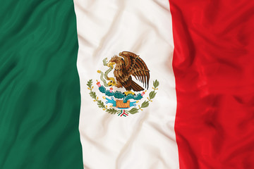 Mexico national flag with waving fabric