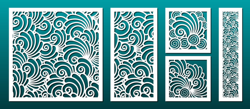 Laser cut template pattern, vector set. Metal cutting or wood carving, panel design, stencil for fretwork, paper art
