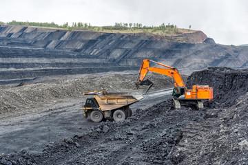 Coal mining in a quarry. A hydraulic excavator loads a dump truck. Wall mural