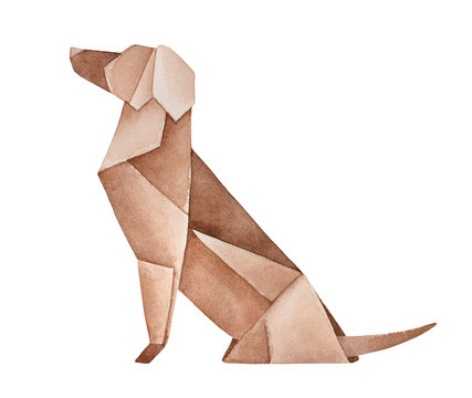 Watercolour drawing of cute folded Origami Dog. Emblem of companion, guardian, devotion, friendship. Handdrawn water color stylized painting on white background, cutout clip art for design decoration.