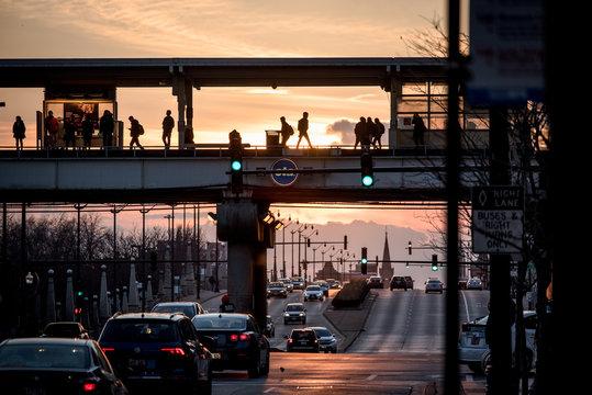 sunset commute subway platform