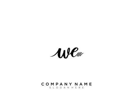 WE Initial Handwriting Logo Template Vector