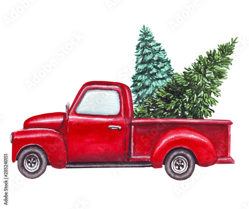 Christmas In Evergreen Truck.Watercolor Red Car Truck With Green Christmas Tree Isolated