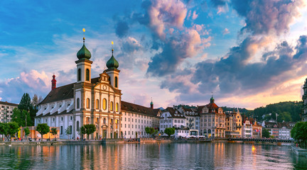 Wall Mural - Lucerne at sunset, Switzerland
