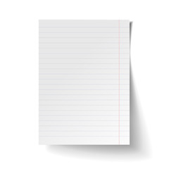White blank sheet of lined paper. Mock up of white note paper. Realistic vector illustration.
