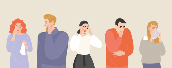 Obraz Set of vector illustrations of people suffering from various symptoms of the common cold and flu. - fototapety do salonu