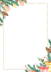 Watercolor frame christmas fir branch cones