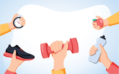 Sport exercise web banner. Time to fitness and workout concept. Idea of active and healthy lifestyle. Training equipment