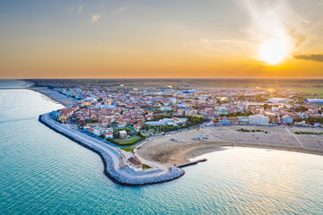Caorle town and beach in Italy during summer