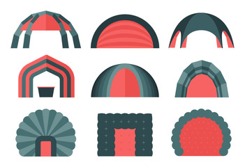 Fototapeta Set of various designs of inflatable tents for various purposes. Inflatable tent for event and for outdoor celebrations. Simple and lovable vector illustrations.