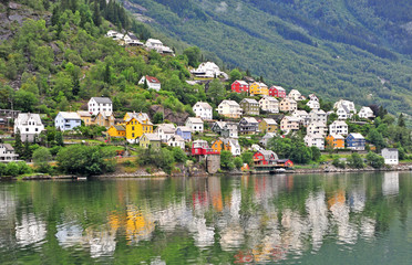 Colorful houses of Odda town, Norway