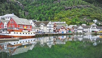 Odda old town on lake on summer, Norway.