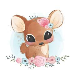 Cute Deer in Flower Wreath