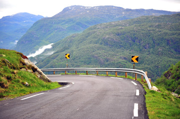 Beautiful mountain road on fjords, Norway